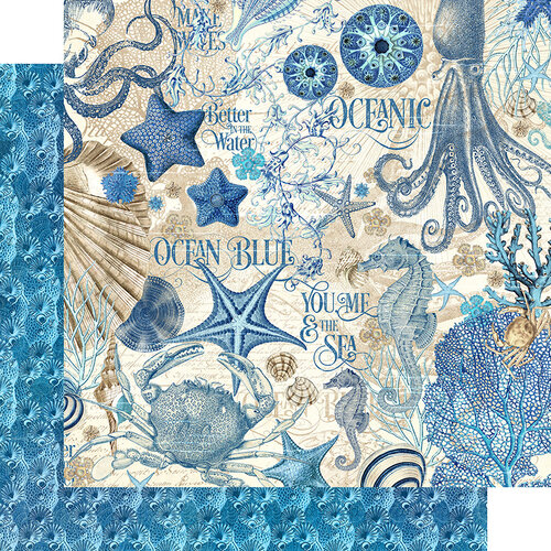 Graphic 45 - Ocean Blue Collection - 12 x 12 Double Sided Paper - Ocean Blue