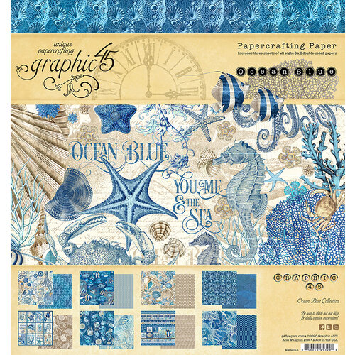 Graphic 45 - Ocean Blue Collection - 8 x 8 Paper Pad