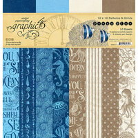 Graphic 45 - Ocean Blue Collection - 12 x 12 Patterns and Solid Paper Pad