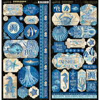 Graphic 45 - Ocean Blue Collection - 6 x 12 Cardstock Stickers