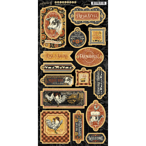 Graphic 45 - Farmhouse Collection - Chipboard