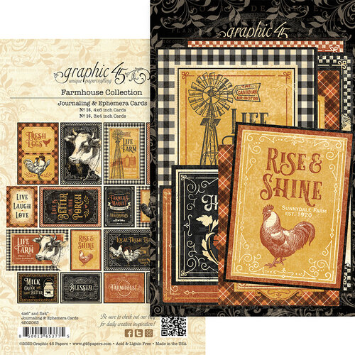 Graphic 45 - Farmhouse Collection - Journaling Cards
