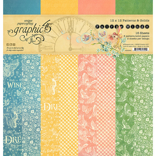 Graphic 45 - Fairie Wings Collection - 12 x 12 Patterns and Solids Paper Pad