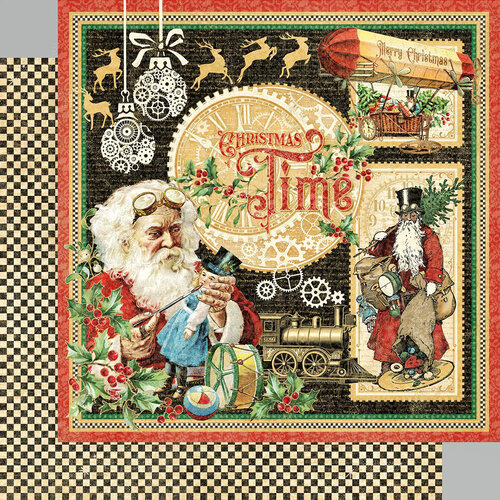Graphic 45 - Christmas Time Collection - 12 x 12 Double Sided Paper - Christmas Time