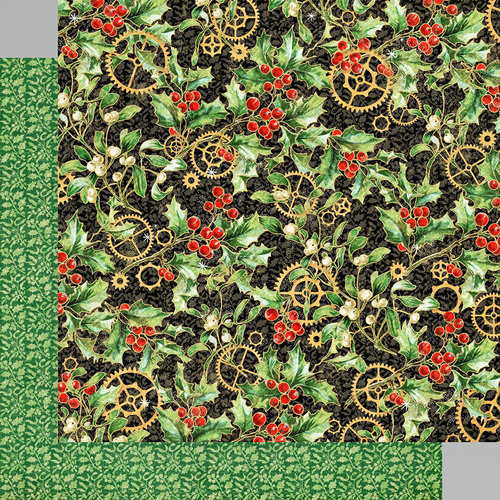 Graphic 45 - Christmas Time Collection - 12 x 12 Double Sided Paper - Holly and Mistletoe