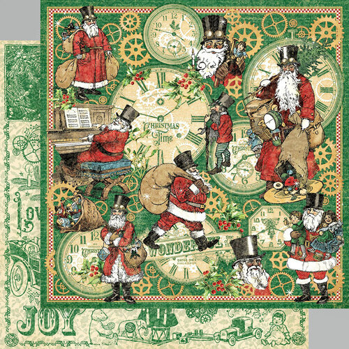 Graphic 45 - Christmas Time Collection - 12 x 12 Double Sided Paper - Here Comes Santa Clause