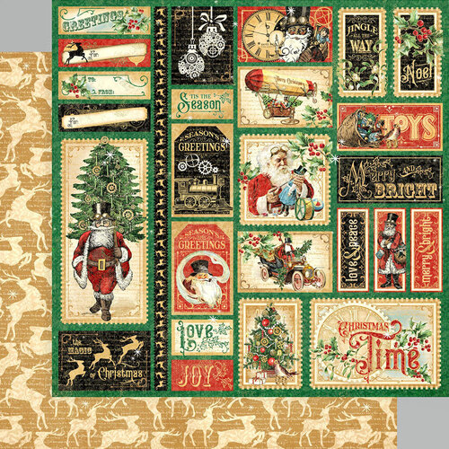 Graphic 45 - Christmas Time Collection - 12 x 12 Double Sided Paper - Jingle All The Way