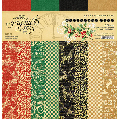 Graphic 45 - Christmas Time Collection - 12 x 12 Patterned and Solids Paper Pad