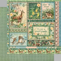 Graphic 45 - Woodland Friends Collection - 12 x 12 Double Sided Paper - Be Carefree
