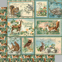 Graphic 45 - Woodland Friends Collection - 12 x 12 Double Sided Paper - Be Clever