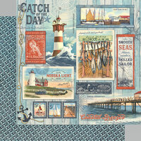 Graphic 45 - Catch Of The Day Collection - 12 x 12 Double Sided Paper - Catch Of The Day