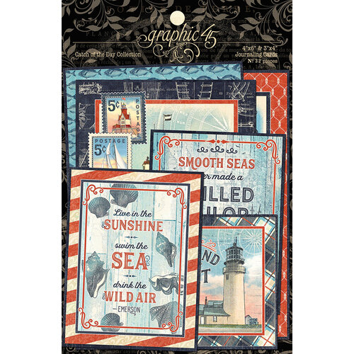 Graphic 45 - Catch Of The Day Collection - Ephemera and Journaling Cards