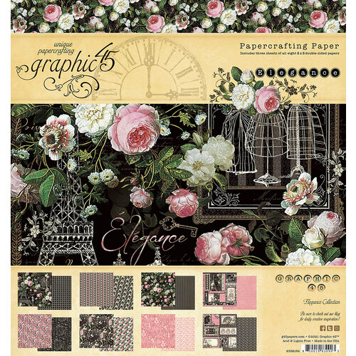 Graphic 45 - Elegance Collection - 8 x 8 Paper Pack