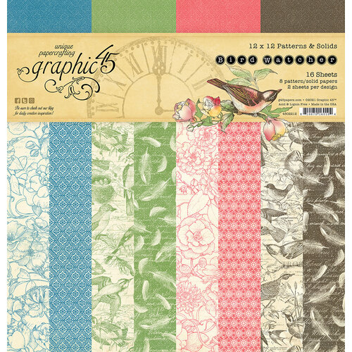 Graphic 45 - Bird Watcher Collection - 12 x 12 Patterns and Solids Pack