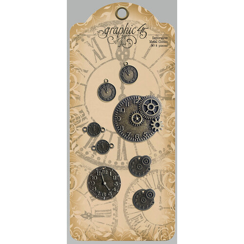 Graphic 45 - Staples Embellishments Collection - Decorative Metal Clocks