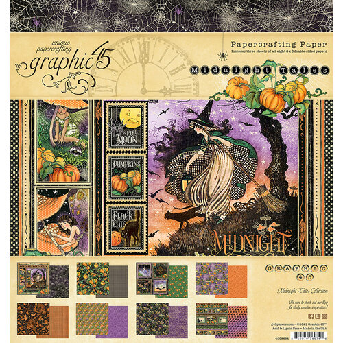 Graphic 45 - Midnight Tales Collection - Halloween - 8 x 8 Paper Pad