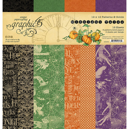 Graphic 45 - Midnight Tales Collection - Halloween - 12 x 12 Patterns and Solids Paper Pad