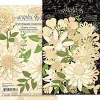 Graphic 45 - Staples Embellishments Collection - Flower Assortment - Shades of Ivory