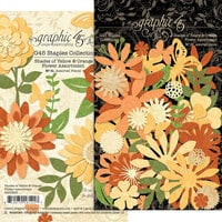 Graphic 45 - Staples Embellishments Collection - Flower Assortment - Shades of Yellow and Orange