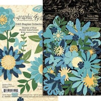Graphic 45 - Staples Embellishments Collection - Flower Assortment - Shades of Blue