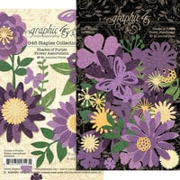 Graphic 45 - Staples Embellishments Collection - Flower Assortment - Shades of Purple