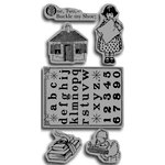 Graphic 45 - Hampton Art - An ABC Primer Collection - Cling Mounted Rubber Stamps - ABC Primer Three