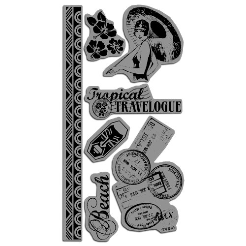 Graphic 45 - Hampton Art - Tropical Travelogue Collection - Cling Mounted Rubber Stamps - Tropical Travelogue One