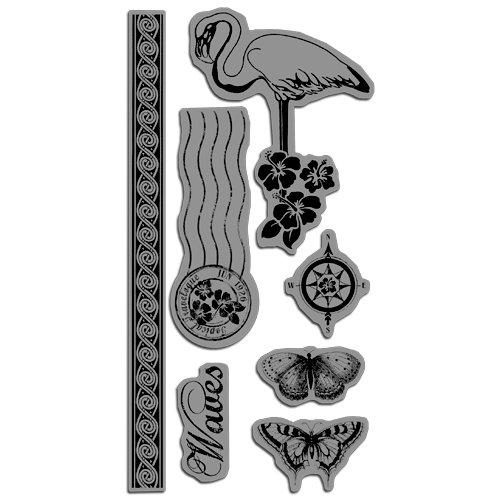 Graphic 45 - Hampton Art - Tropical Travelogue Collection - Cling Mounted Rubber Stamps - Tropical Travelogue Two