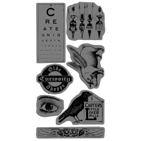 Graphic 45 - Hampton Art - Olde Curiosity Shoppe Collection - Cling Mounted Rubber Stamps - Olde Curiosity Shoppe One