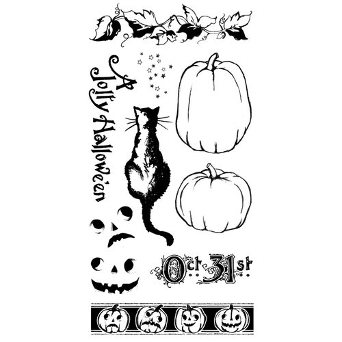 Graphic 45 - Hampton Art - Happy Haunting Collection - Halloween - Cling Mounted Rubber Stamps - Happy Haunting Two