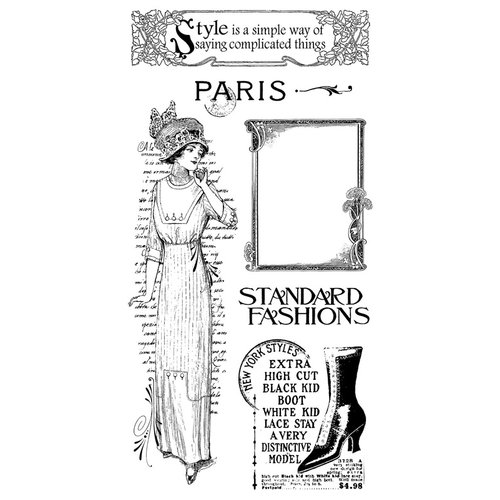 Graphic 45 - Hampton Art - Ladies' Diary Collection - Cling Mounted Rubber Stamps - Ladies Diary Two