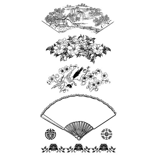 Graphic 45 - Hampton Art - Bird Song Collection - Cling Mounted Rubber Stamps - Bird Song Two