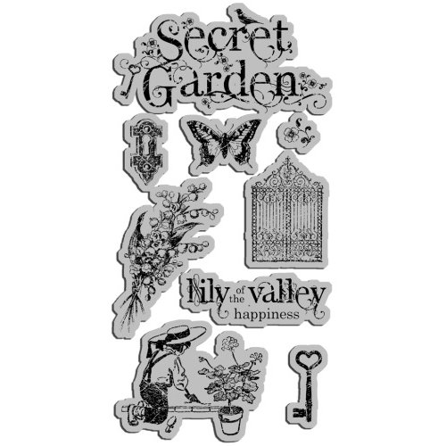 Graphic 45 - Hampton Art - Secret Garden Collection - Cling Mounted Rubber Stamps - Secret Garden One