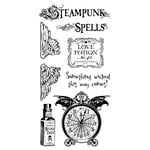 Graphic 45 - Hampton Art - Steampunk Spells Collection - Cling Mounted Rubber Stamps - Steampunk Spells One