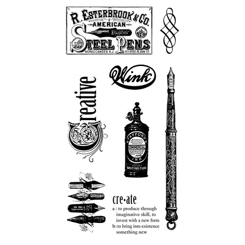 Graphic 45 - Hampton Art - Typography Collection - Cling Mounted Rubber Stamp Two