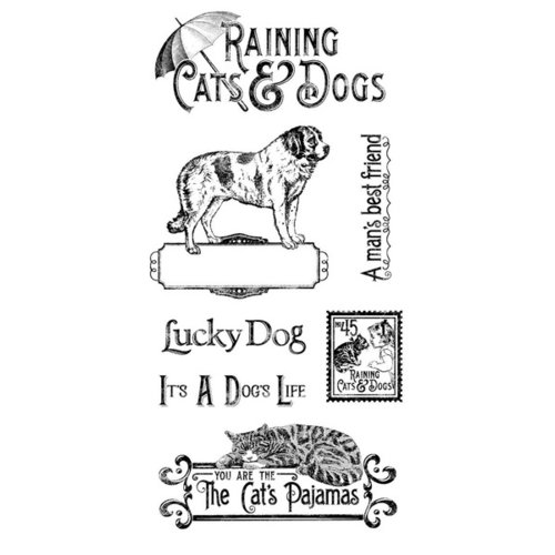 Graphic 45 - Hampton Art - Raining Cats and Dogs Collection - Cling Mounted Rubber Stamps - One