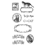 Graphic 45 - Hampton Art - Raining Cats and Dogs Collection - Cling Mounted Rubber Stamps - Two