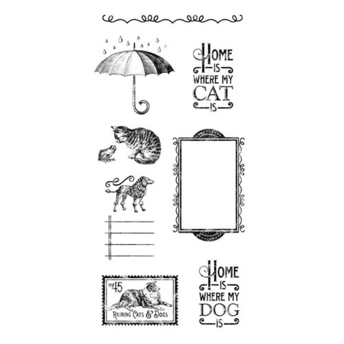 Graphic 45 - Hampton Art - Raining Cats and Dogs Collection - Cling Mounted Rubber Stamps - Three