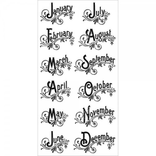 Graphic 45 - Hampton Art - Time to Flourish Collection - Cling Mounted Rubber Stamps - Three
