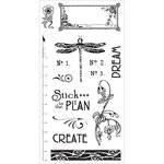 Graphic 45 - Hampton Art - Artisan Style Collection - Cling Mounted Rubber Stamps - Two