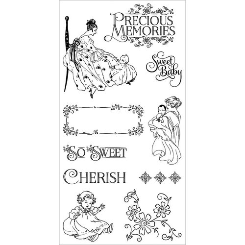 Graphic 45 - Hampton Art - Precious Memories Collection - Cling Mounted Rubber Stamps - One
