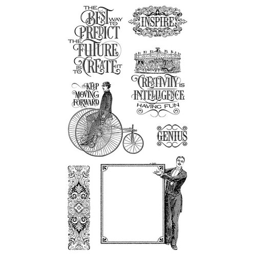 Graphic 45 - Hampton Art - Worlds Fair Collection - Cling Mounted Rubber Stamps - One