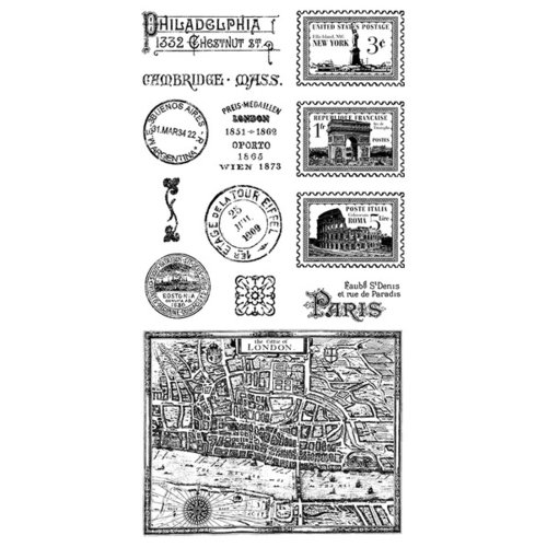 Graphic 45 - Hampton Art - Cityscapes Collection - Cling Mounted Rubber Stamps - Two
