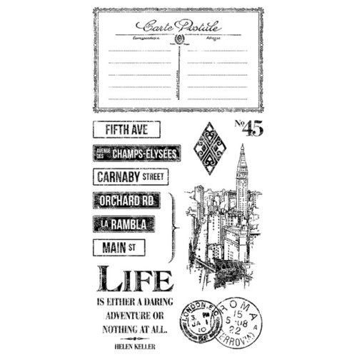 Graphic 45 - Hampton Art - Cityscapes Collection - Cling Mounted Rubber Stamps - Three