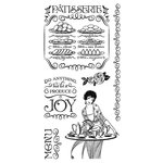 Graphic 45 - Hampton Art - Cafe Parisian Collection - Cling Mounted Rubber Stamps - Two