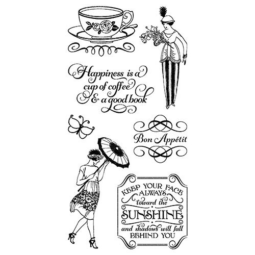 Graphic 45 - Hampton Art - Cafe Parisian Collection - Cling Mounted Rubber Stamps - Three