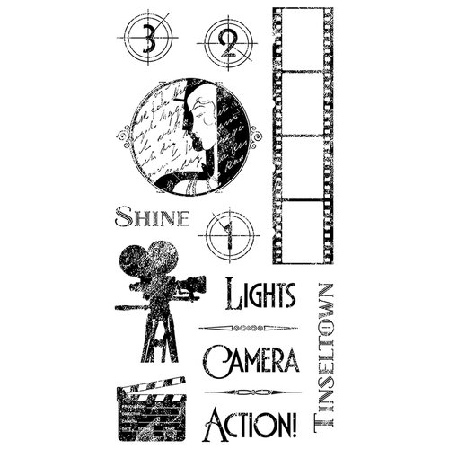 Graphic 45 - Hampton Art - Vintage Hollywood Collection - Cling Mounted Rubber Stamps - One