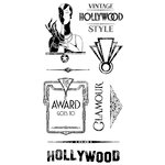 Graphic 45 - Hampton Art - Vintage Hollywood Collection - Cling Mounted Rubber Stamps - Three
