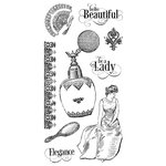 Graphic 45 - Hampton Art - Portrait of a Lady Collection - Cling Mounted Rubber Stamps - Two