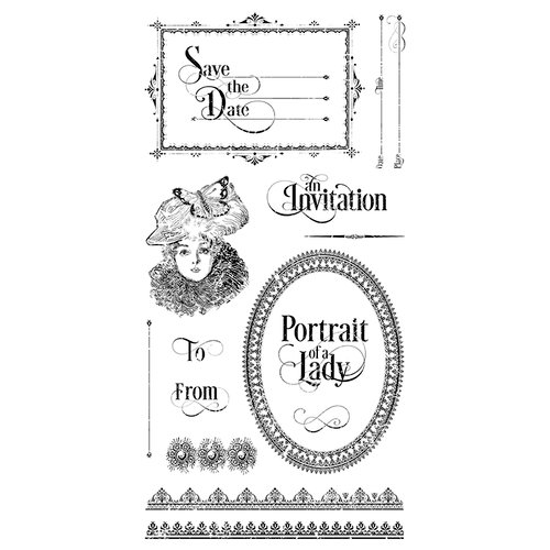 Graphic 45 - Hampton Art - Portrait of a Lady Collection - Cling Mounted Rubber Stamps - Three